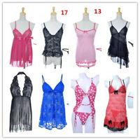 Sexy Lingerie Women Lace Robe Dress Nightdress Nightgown Sleepwear Babydoll