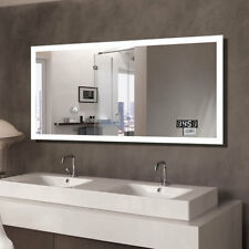 LED Lighted Bathroom Mirror Horizontal with Clock Bluetooth Touch Button Antifog