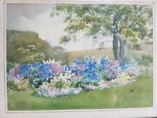 Original Watercolour painting of a Summer Country Garden Scene by M J Isaac 1932