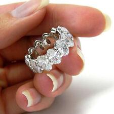 7.00 Ct. Oval Brilliant Cut Shared Prong Diamond Eternity Ring F-G, VS2-SI1 14k