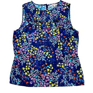 Review Women's Size 10 Sleeveless Multicoloured Round Neck Floral Blouse Top