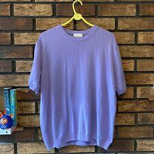 Peter Hahn UK 22 Pure Tasmanian Wool Short Sleeved Knit Jumper, Purple Lilac VGC