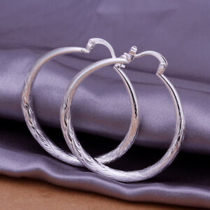 Sterling Silver Plated 4cm Large Thick Round Hoop Earrings