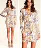 bebe multi color printed v neck wrap belt long sleeve stretchy top dress XS 0 2