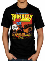 Official Thin Lizzy Hit Singles Adventures NEW T-Shirt Rock Metal Band Merch
