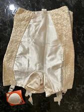 Vintage 50s Girdle NOS Beige Silky Sheer Satin Lastex Sz Small AFL-CIO Label