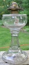 VINTAGE P & A MFG CO WATERBURY CONN OIL LAMP IN UNIQUE DESIGN CLEAR GLASS