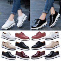 Womens Oxford Wingtip Toe Lace Up Platform Perforated Casual Stitched Shoe 35-41