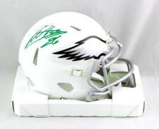 Miles Sanders Autographed Eagles Flat White Mini Helmet- JSA W Auth *Green
