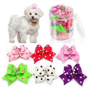 20/50pcs/lot Diamond Pet Dog Puppy Hair Bow Grooming Accessories Cute Dot Print