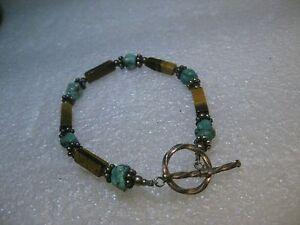 "Sterling Southwestern Tiger's Eye & Turquoise Bracelet, Toggle Clasp, 7.5"""