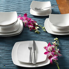 12 Piece Square Dinnerware Set Dinner Dessert Plates Bowls Ceramic Dishes White