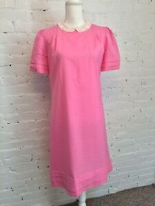 Lilly Pulitzer The Lilly Vintage 70s Shift Dress Pink Lace Collar size 8