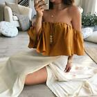 Sexy Women Summer Short Sleeve Off Shoulder Backless Casual Top Blouse T Shirt