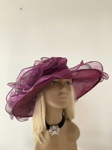 New Large Wine Sheer Organza Brides Wedding Hat Mother Of The Bride/Groom Races