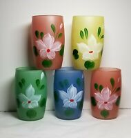 MCM 5 Multi Color Frosted Hand Painted Flowers Juice Glasses