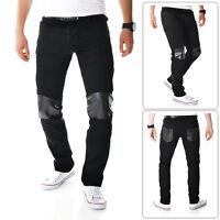 Black Mens Skinny Jeans Trousers Snake Skin pattern on Pockets Kneess Cotton L34