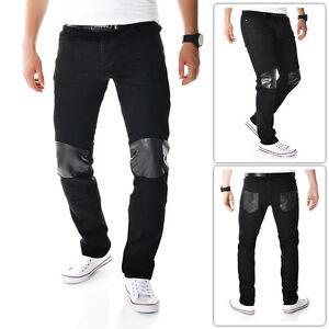 Black Men's Skinny Jeans Trousers Snake Skin pattern on Pockets Knees Cotton L34
