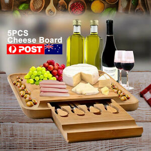 Bamboo Cheese Board 5 Pieces Stanley Wooden Rogers Knives Set Gift