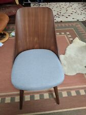 B Two Baxton Studio Romily Mid-Century Modern Walnut Grey Fabric Dining Chairs
