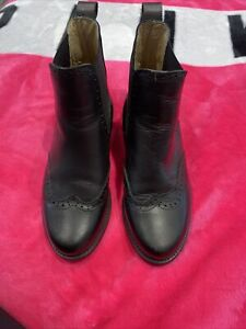 Russell Bromley Morgan Boots Brogue Chelsea Boot Black Leather Size 2.5 Uk Eu 35