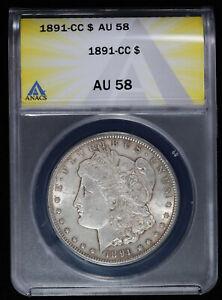1891 CC $1 Morgan Silver Dollar ANACS AU 58