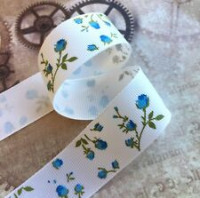 3 meters grosgrain ribbon with blue flowers 25 mm