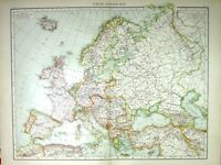 Old Print Europe General Map C1897 Great Britain Spain France Russia Ice 0 19th