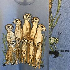 VTG Meerkat Animal Print Sweatshirt Pale Blue Large Jerzees Cute Family Nature