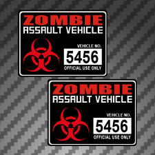 2x Zombie Assault Vehicle Sticker Decal Vinyl graphic apocalypse permit Version2