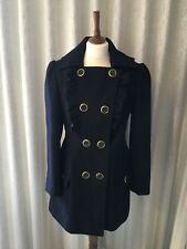 Ladies Women Navy Swing Military Style Coat Jacket Size 12 By Atmosphere Lovely