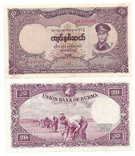 BURMA MYANMAR 20 KYATS 1958 XF P 49