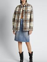 ETOILE ISABEL MARANT Gastoni Plaid Shirt Jacket Beige Size 38 Orig. $545 NWT