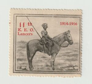 UK- 11th KEO Lancers 1914-1916- poster stamp clean, gum but rust spots