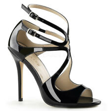 Pleaser - Amuse-15 STUNNING Sandals With Waving Design PEEP Toe Strappy Black Patent UK 12