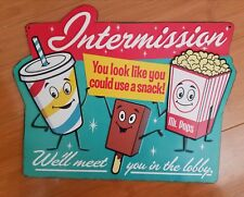 *METAL CINEMA SIGN* popcorn movies reel soda pop coffee candy theater popsicle