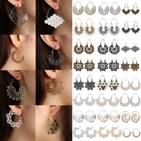 HOT Gypsy Tribal Ethnic Mandala Hollow Hoop Earrings Boho Jewelry Holiday Gifts