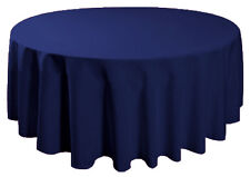 "90"" Round Table Cover Seamless Wedding Banquet Tablecloth - NAVY BLUE"
