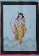 VINTAGE INDIAN HAND MADE WATER COLOR PAINTING OF FLUTING LORD KRISHNA ON SILK