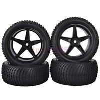 4PCS RC 1:10 Off-Road Buggy Car Front&Rear Rubber Tyre Tires &Wheel Rims 6605BS