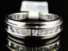 10K Mens White Gold Two Tone Round Channel Diamond Fashion Band Ring
