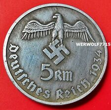 Adolf Hitler 5 reichsmarks 1934 Tercer Reich alemán Excelente moneda Segunda Guerra Mundial 28mm de la segunda guerra mundial