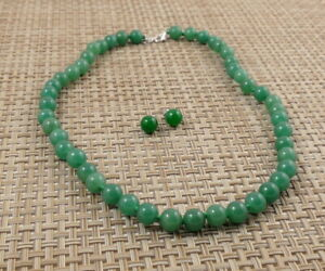 Hand-knotted Donlin Jade Nephrite Beaded Necklace & Sterling Silver Jade Studs