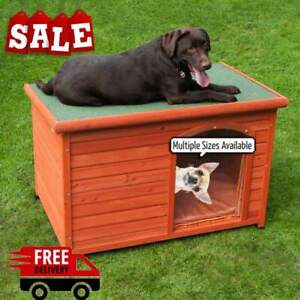 Outdoor Flat Roofed Waterproof Pet Dog Puppy Kennel House Shelter Multiple Sizes