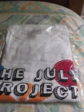"White t-shirt with ""The July Project"" logo. Medium."