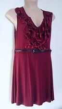 SELECT WINE JERSEY FLIPPY SKIRT DRESS WITH RUFFLES AROUND DEEP V NECKLINE 16