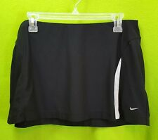Women's NIKE DRI-FIT Black Unlined Performance Tennis Skirt w/ White Trim Large