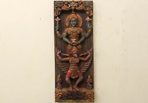Hindu Goddess Lakshmi Statue Garuda Sculpture Wooden Vintage Temple Wall Panel
