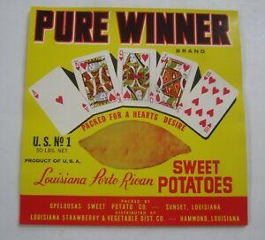 Wholesale Lot of 25 Old Vintage PURE WINNER - Sweet Potato LABELS - Royal Flush