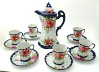 Nippon Chocolate Pot Set by TE-OH China, 13 pieces, Hand Painted Roses, Antique